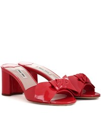 Miu Miu Patent Leather Slip On Sandals Red