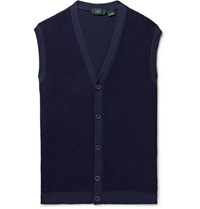 Incotex Slim Fit Waffle Knit Sweater Vest Navy