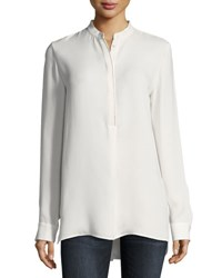 Lafayette 148 New York Polina Silk Georgette Blouse Cloud