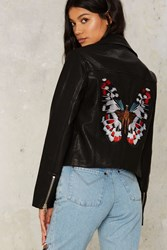 Nasty Gal Butterfly Patch Embroidered Moto Jacket 75141