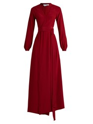 Rhode Resort Jagger Wrap Front Silk Maxi Dress Burgundy