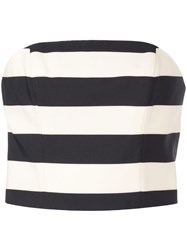 Christian Siriano Striped Cropped Top Black