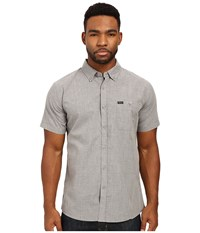 Brixton Central S S Woven Heather Grey Men's Short Sleeve Button Up Gray