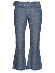 Marques Almeida Frayed Edge Flared Leg Cropped Jeans Denim