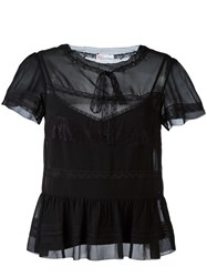 Red Valentino Ruffled Hem Blouse Black