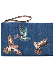 Red Valentino Embroidered Bird Denim Clutch Blue