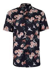 Topman Blue Navy Japanese Floral Print Short Sleeve Casual Shirt
