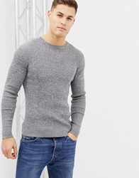 Brave Soul Muscle Fit Roll Neck Stetch Rib Jumper Grey