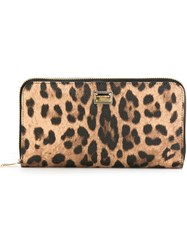 Dolce And Gabbana Leopard Print Wallet Nude And Neutrals