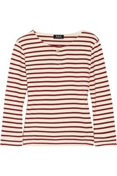 A.P.C. Atelier De Production Et De Creation Veronica Striped Cotton Jersey Top Burgundy