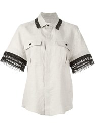 Toga Pulla Fringed Trim Shortsleeved Shirt Nude And Neutrals