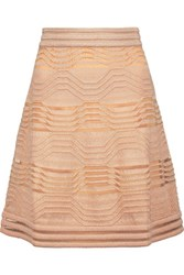 M Missoni Glittered Tulle Trimmed Textured Stretch Knit Skirt Sand