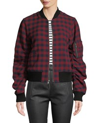 A.L.C. Andrew Plaid Wool Bomber Jacket Multi Pattern