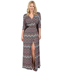 Kiyonna Morrocan Majesty Maxi Dress Chevron Mix Print Women's Dress Brown