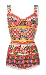 Dolce And Gabbana Printed Body Suit White Red Green