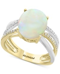 Effy Opal 2 1 2 Ct. T.W. And Diamond 1 8 Ct. T.W. Two Tone Ring In 14K Gold And White Gold