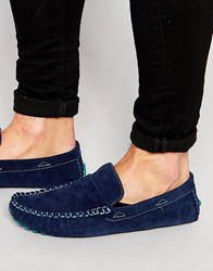 Bellfield Suede Driving Loafers In Navy Blue