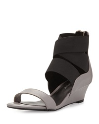 Delman Dylan Strappy Wedge Sandal Grey Black