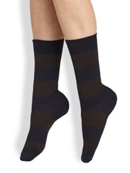 Maria La Rosa Striped Mid Calf Socks Bordeaux Navy