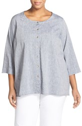 Plus Size Women's Eileen Fisher Linen And Cotton Ballet Neck High Low Shirt
