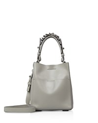 Allsaints Maya North South Mini Leather Tote Light Cement Silver