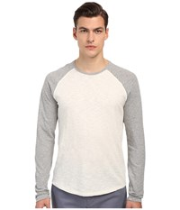 Vince Long Sleeve Slub Raglan Baseball Tee Heather White Heather Steel Men's T Shirt