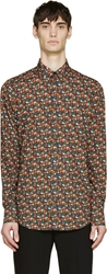 Dolce And Gabbana Red And Green Poplin Printed Shirt