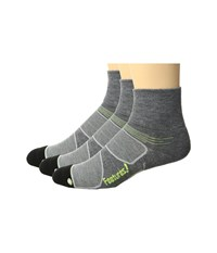 Feetures Elite Max Cushion Quarter 3 Pair Pack Heather Gray Reflector Quarter Length Socks Shoes