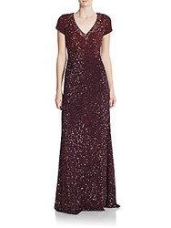 Pamella Roland Jeweled Ombre Silk A Line Gown Wine