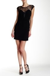 The Kooples Genuine Leather Trim Cap Sleeve Dress Black