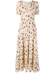Christopher Kane Ditsy Floral Print Dress Nude Neutrals