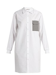 Christopher Kane Gingham Pocket Cotton Poplin Shirtdress White