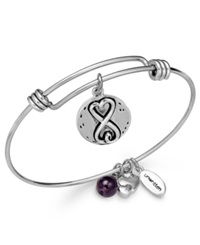 Unwritten Sisters Charm And Amethyst 8Mm Bangle Bracelet In Silver Plated Stainless Steel