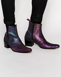 Jeffery West Irridescent Chelsea Boots Purple
