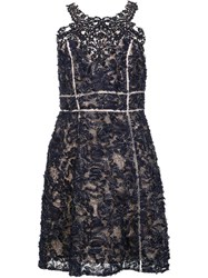 Marchesa Notte Embroidered Flower Dress Blue