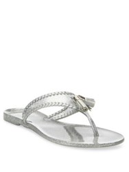Jack Rogers Jr Alana Sparkle Whipstitch Jelly Tassel Thong Sandals Gold Silver