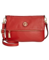 Giani Bernini Pebble Leather Zipper Flap Crossbody Scarlet