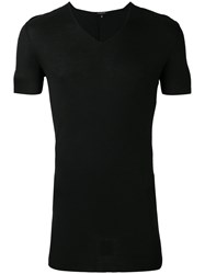 Unconditional Ribbed V Neck T Shirt Men Rayon S Black