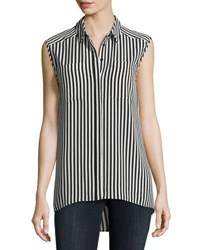 Vince Camuto Demure Striped Sleeveless Shirt Black White