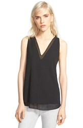 Women's Cooper And Ella V Neck Underlay Tank Black