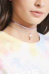Forever 21 Holographic Ice Cream Choker Set Purple Gold