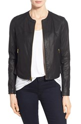 Women's Via Spiga Lambskin Leather And Knit Zip Front Collarless Jacket