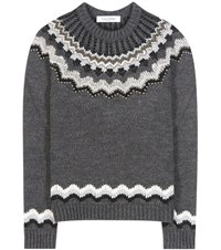Valentino Embellished Wool And Alpaca Blend Sweater Grey