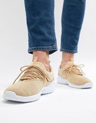 New Look Mixed Texture Trainers In Stone