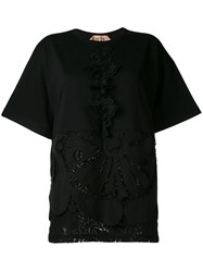 N 21 No21 Embellished Lace Detail T Shirt Black
