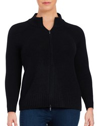 Lord And Taylor Plus Cashmere Zip Front Cardigan Black