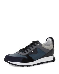 Fendi Men's Monster Suede And Leather Trainer Blue Gray