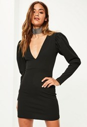 Missguided Black Crepe Long Sleeve Plunge Dress