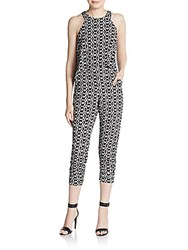 Saks Fifth Avenue Red Popover Printed Jumpsuit Black White