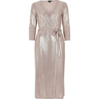 River Island Womens Metallic Pink Plunge Wrap Dress